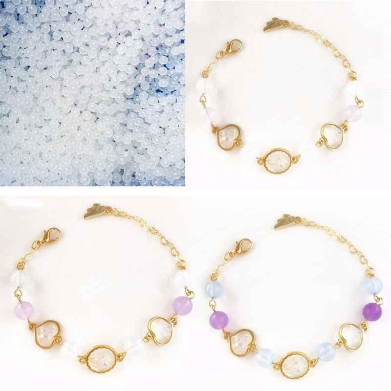 50 piezas de cuentas de UV de plástico de Color cambiante luz solar reactiva collar de perlas pulsera tobillera DIY accesorios de joyería haciendo