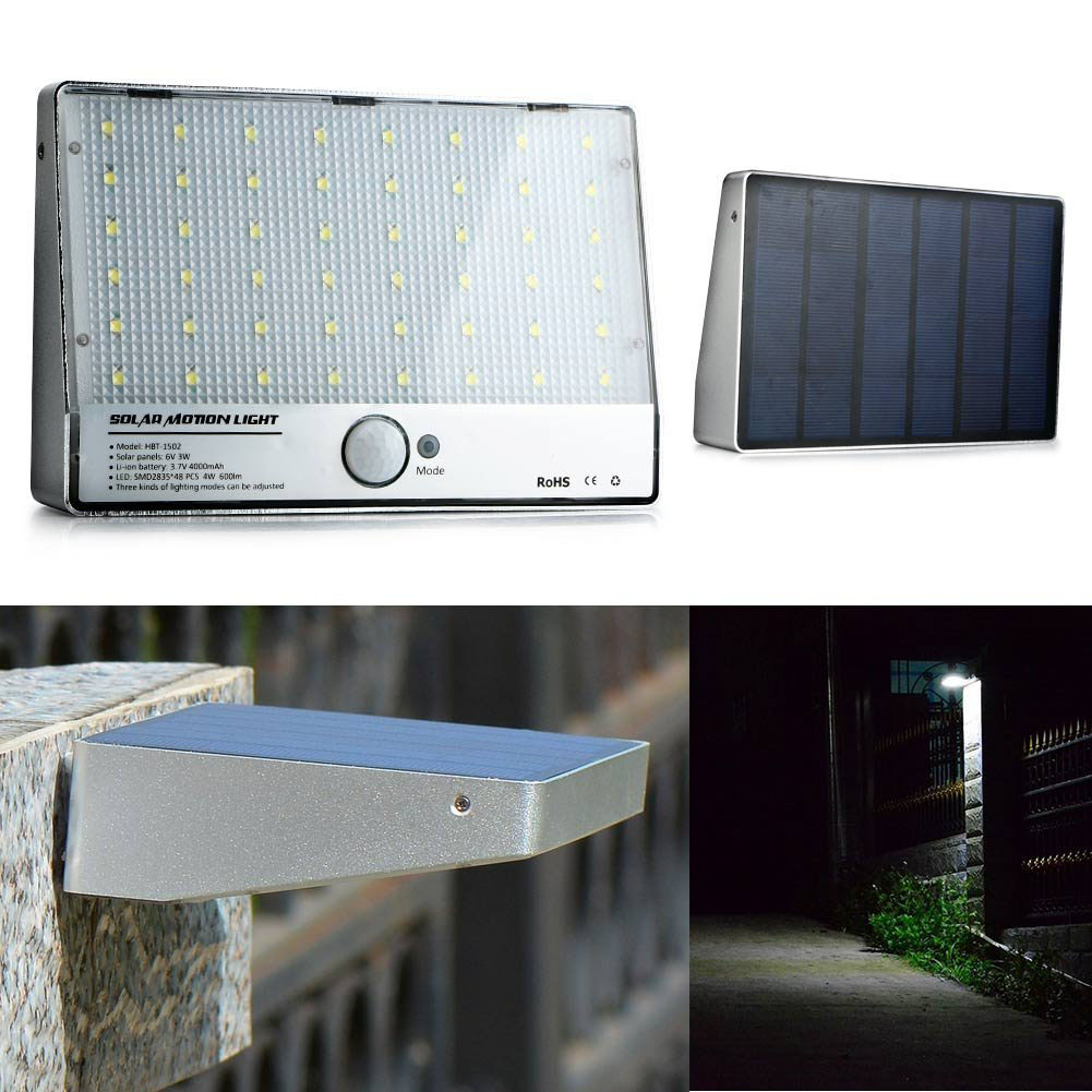 Outdoor Lighting 48LED Solar Motion Sensor Garden Pathway Exterior Wall Lamp LED Spotlight Solar Powered Panel Porch Light outdoor lighting 24led motion sensor solar security light exterior wireless wall lamp for porch fountain street courtyard garage