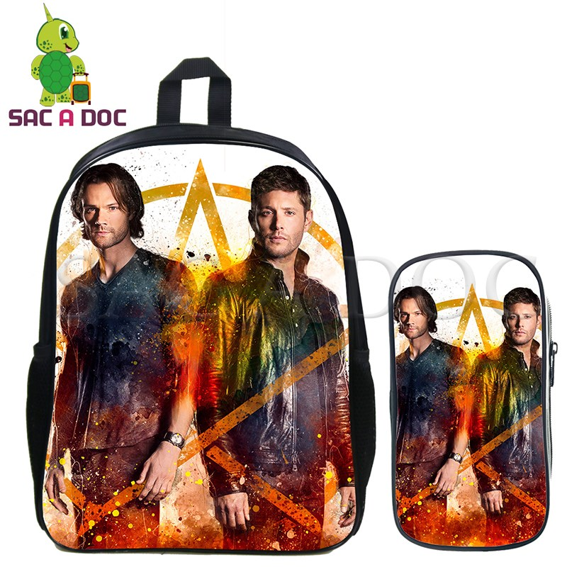 Supernatural 2 Pcs/set Backpack Sam/Dean/Castiel School Backpack for Women Men Casual Travel Bags Kids Book Bag with Pencil CaseSupernatural 2 Pcs/set Backpack Sam/Dean/Castiel School Backpack for Women Men Casual Travel Bags Kids Book Bag with Pencil Case