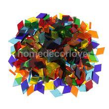 250 шт разноцветных прозрачных стеклянных мозаичных плиток Tessera для украшения пазлов DIY аксессуары для рукоделия