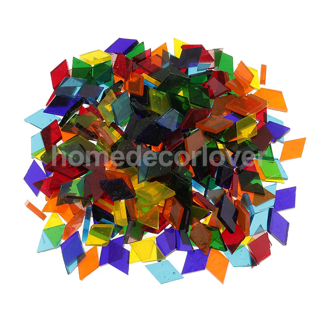 250 Pieces Assorted Colors Clear Glass Pieces Mosaic Making Tiles Tessera For Puzzle Arts DIY Craft Accessories