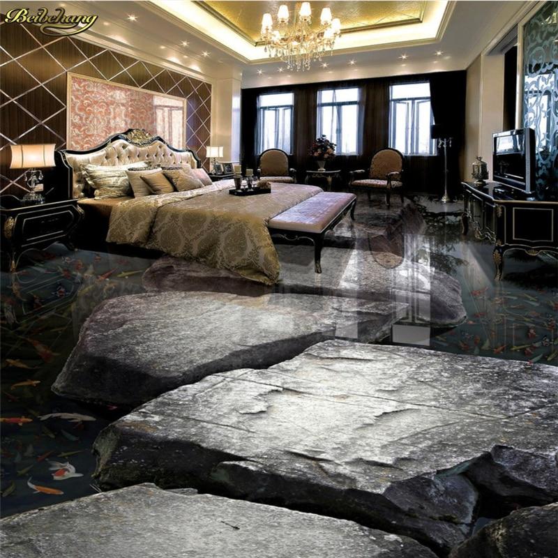 Beibehang Kundenspezifisches Foto Boden Gemalt Um Die Stein Fluss Von Wasser Karpfen Wohnzimmer Badezimmer 3D