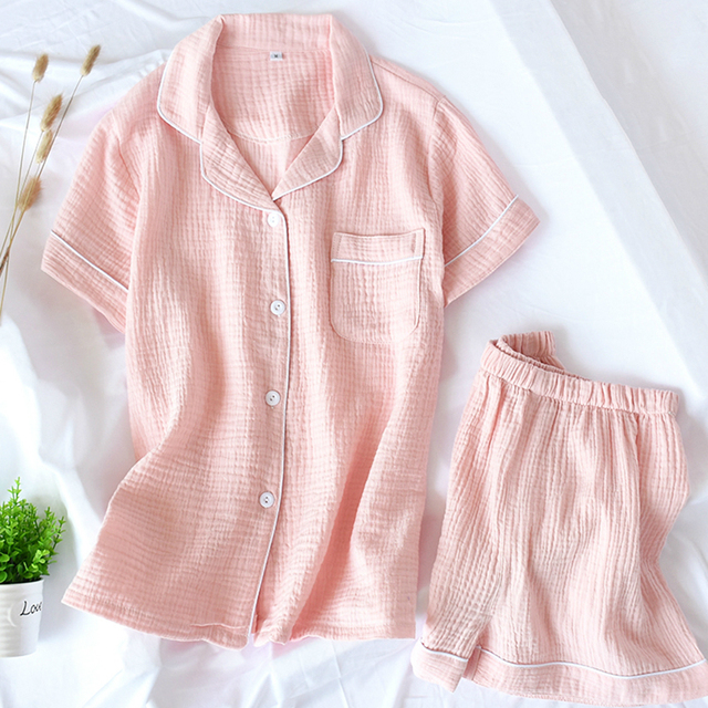 Women Pajamas Summer 100% Cotton Crepe Short sleeved Shorts Pyjamas Thin Solid Plus Size  Sleepwear Loungewear Hoem Clothes