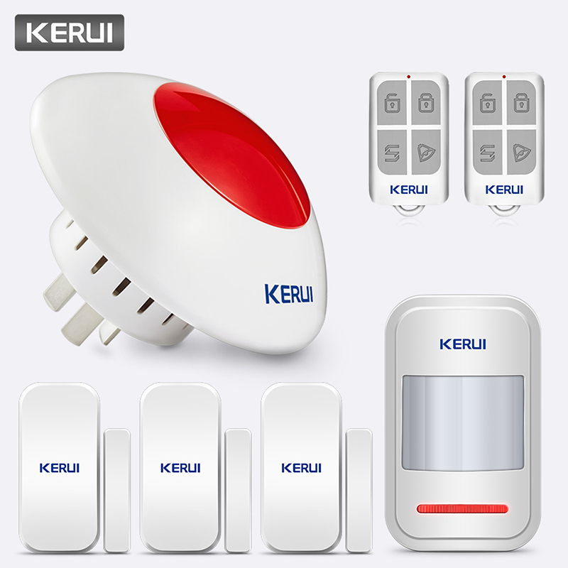 Kerui alta qualidade sem fio piscando sirene sistema de alarme flash chifre vermelho luz strobe sirene kit 433 mhz terno para a maioria do sistema de alarme