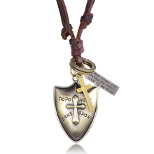 Buy cross shield pendant and get free shipping on aliexpress 2017 punk antique bronze 2d cross shield pendant charms necklace genuine cowhide leather long necklace men aloadofball Choice Image