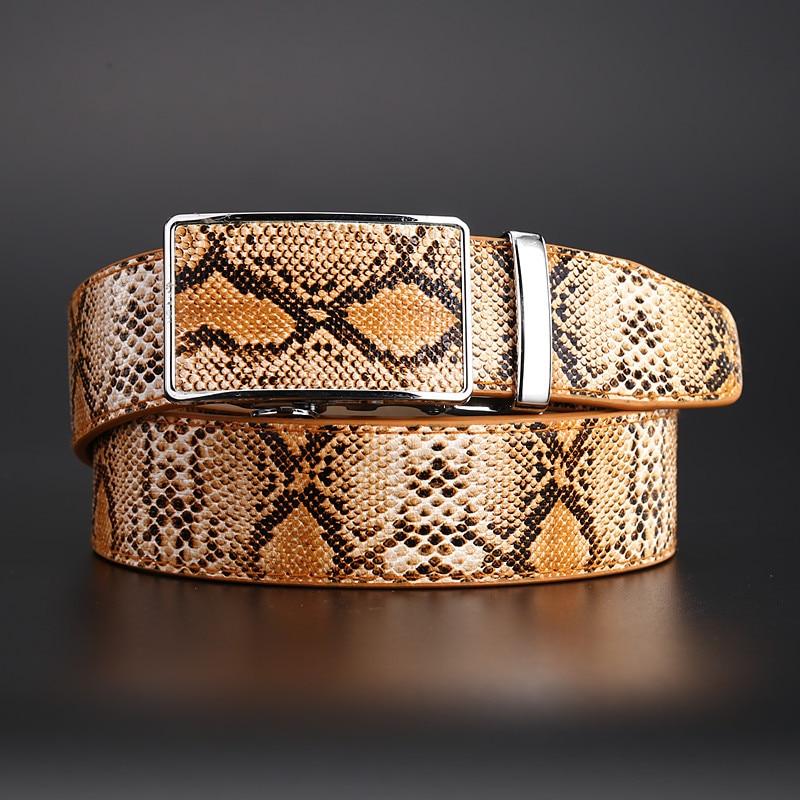 New Genuine Leather Snake Grain   Belt   for Men Automatic buckle Strap Hot Ceinture Men   Belts   Luxury Designer high Quality