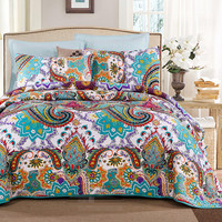 100 Cotton American Style Summer Air Conditioning Patchwork Quilt Full Queen Size 3pcs Boho Floral Bedspread