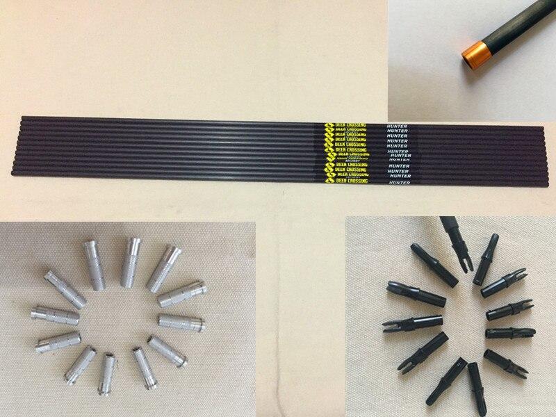 12pcs Pure carbon arrow shaft 12pcs arrow insert 12pcs bohning nock 12pcs Explosion proof ring for