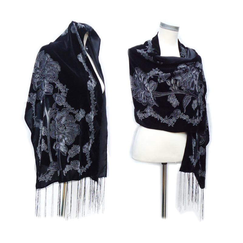 All Black Velvet Burnout   Scarf   Women Doble Floral Designer Muslim   Scarf   Winter Silk   Wrap   islam Fashion Lady Ladies   Scarves