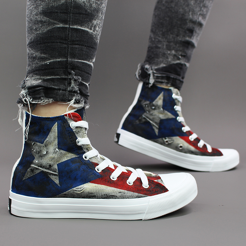 US $59 25 25% OFF|Wen Unisex Design Puerto Rico Flag Hand Painted Canvas  High Top Sneakers Athletic Outdoor Shoes for Skateboarding Sport-in