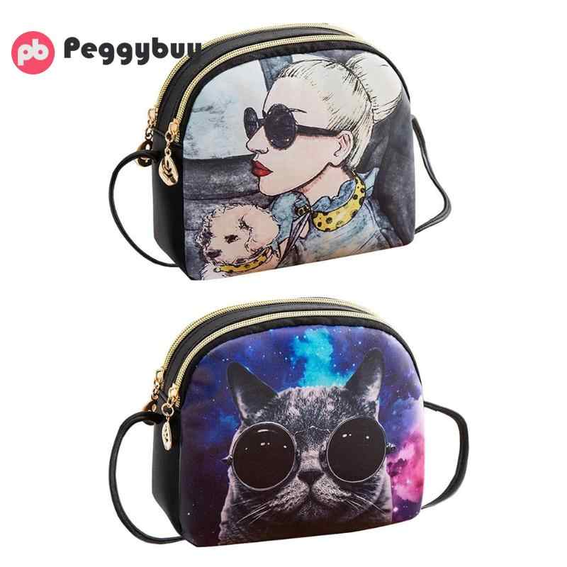 Sacos de Ombro das mulheres Bolsas Saco Do Mensageiro Saco de Impressão Dos Desenhos Animados Bonito Zipper Tote