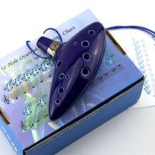 Azul 12 buracos ocarina forno-fogo cerâmica alto c lenda da flauta ocarina do tempo instrumentos de sopro figura brinquedos
