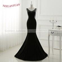 2017 New Design Elegant Beaded Floor Length Gown O-Neck Black Mermaid Prom Dress 2017 Back See Through Sexy vestidos de baile