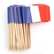 Lot of 50 Pcs Mini Wooden Toothpick with Flag for Decor of Party Fruit Pastry – France (Blue, White, Red)