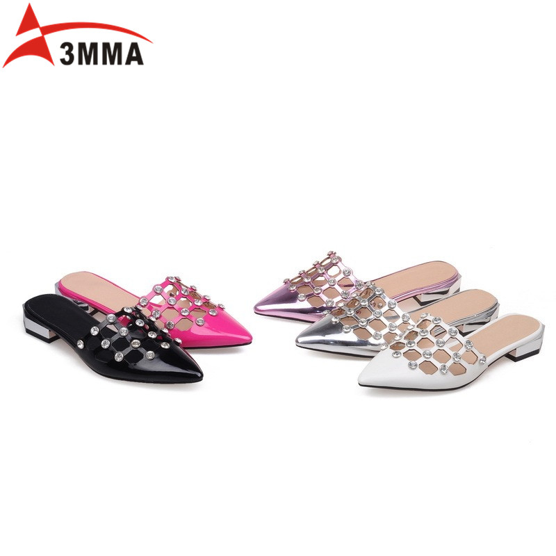 ФОТО 3MMA Crystal Fashion Pointed Toe Sandals Summer Casual Shoes Woman Slip on Flats Rhinestone Women Shoes Top Desinger Size 34-40