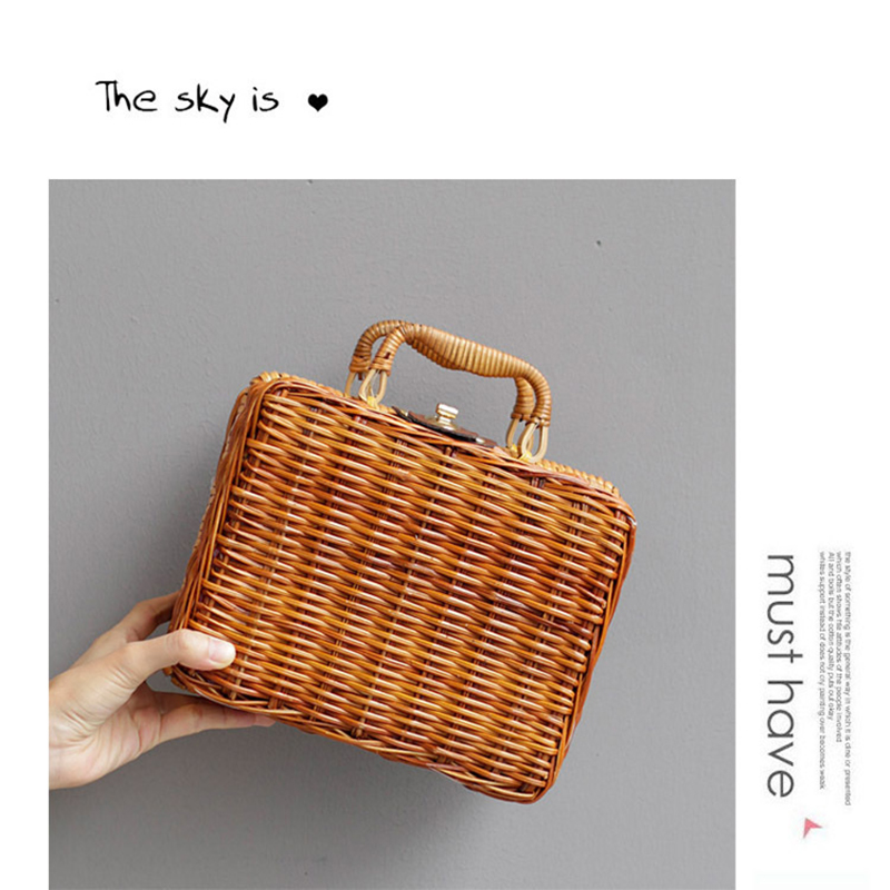 New style high quality Handmade Small rattan ladies hand bags woman shoulder bamboo beach box handbag bolsa feminina clutch 40