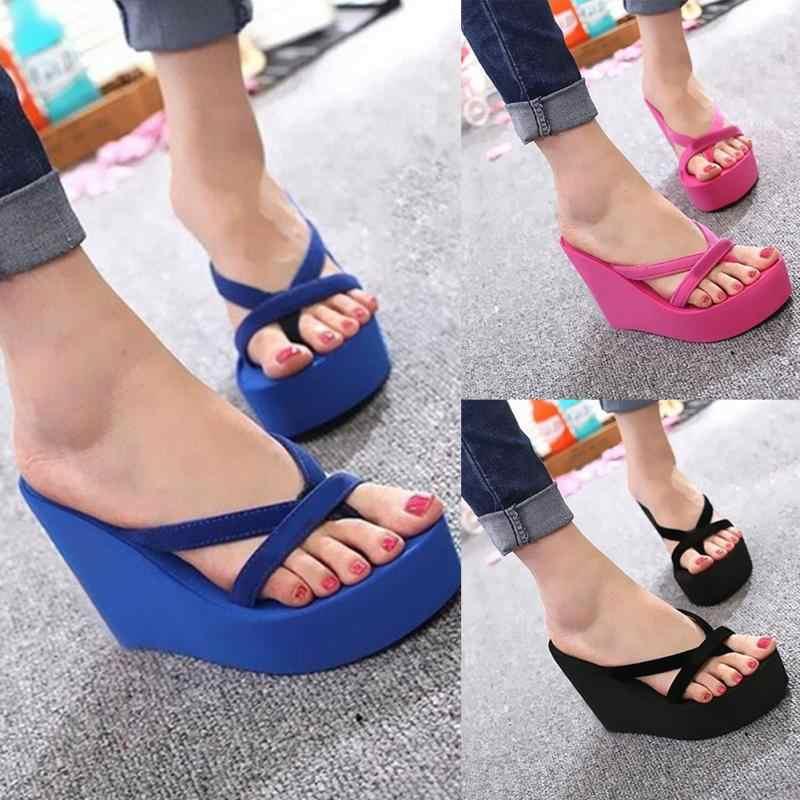 e2eb4c3da8380d ... Summer Sweet Women High Heel Flip Flops Slippers Wedge Platform Beach  Home Flat Slipper Female Sandals