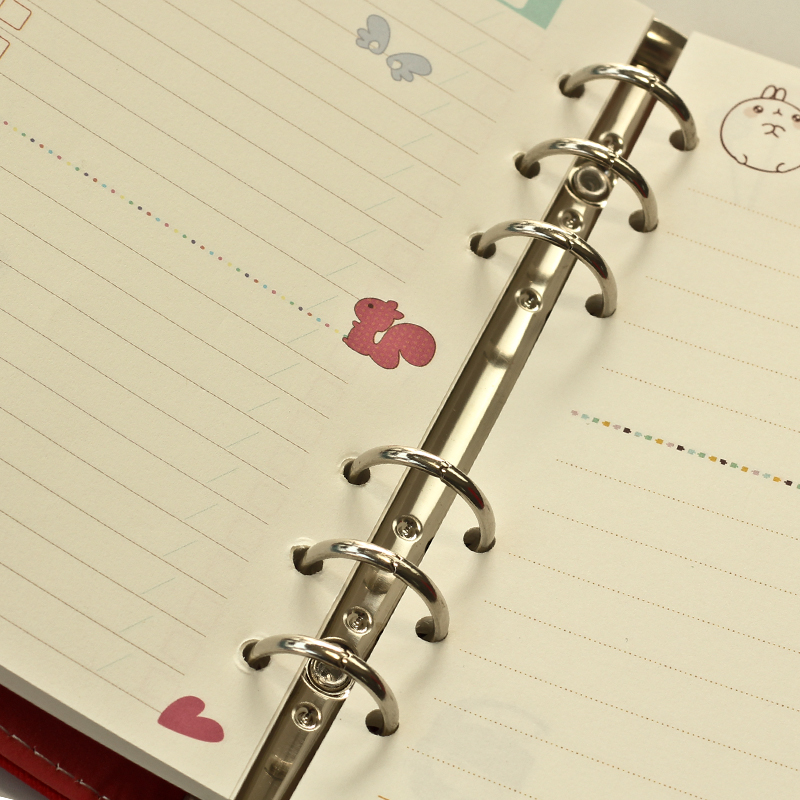 40 sheet/pack A5 A6 Colored Spiral Notebook Inner Pages 6 holes ...