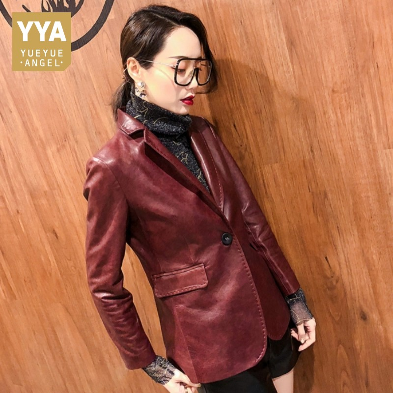 2019 Spring Autumn Women Genuine Leather Blazer Jackets Office Lady Long Sleeve Real Sheep Leather Suits Jacket Female Slim Coat