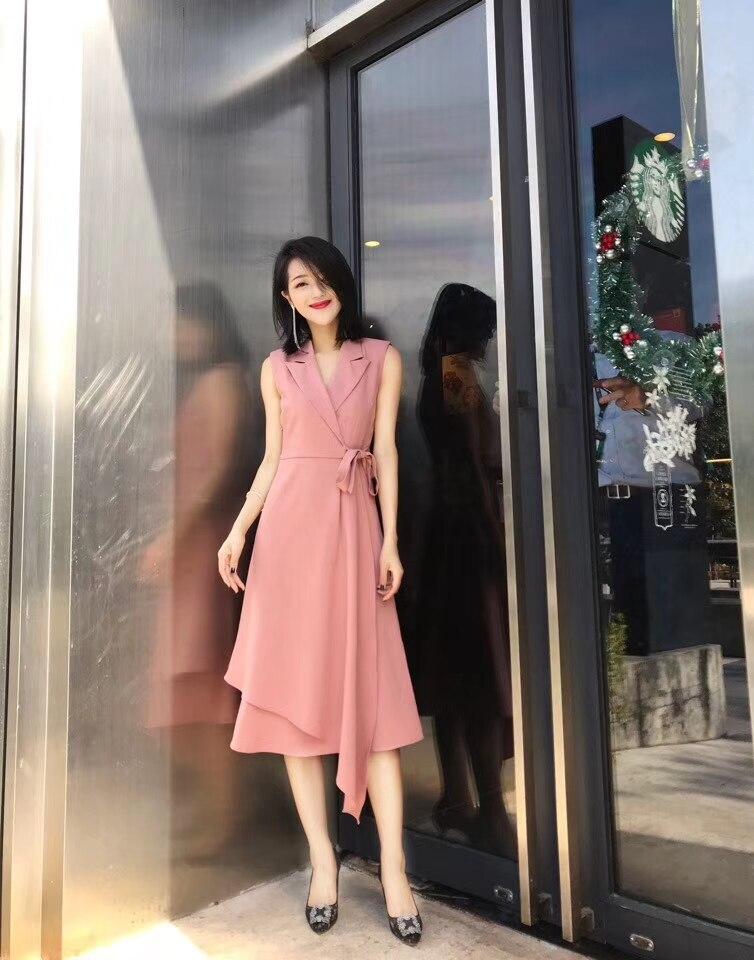 2019 nouveau été solide sans manches arc ceintures v-cou 2 couleur 3 taille robes de femmes