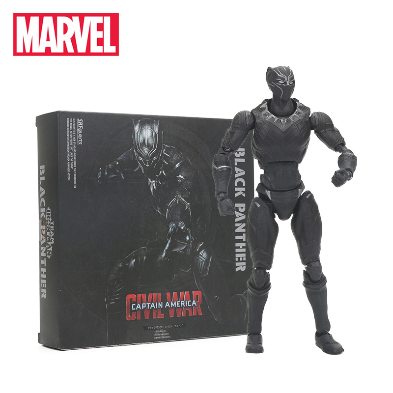 16cm Black Panther PVC Action Figure SHFiguarts Captain America Civil War Collectible Model Toy Marvel Toys the Avengers Figures captain america civil war bobble head pvc action figure collectible model toy doll 10cm