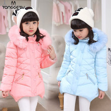 Tanggetu 2018 New Winter -30 Degree Children's Down Jacket For Girls Clothes Outerwear Fur Long Warm Baby Coat For Girl brand baby infant girls fur winter warm coat 2018 cloak jacket thick warm clothes baby girl cute hooded long sleeve coats jacket