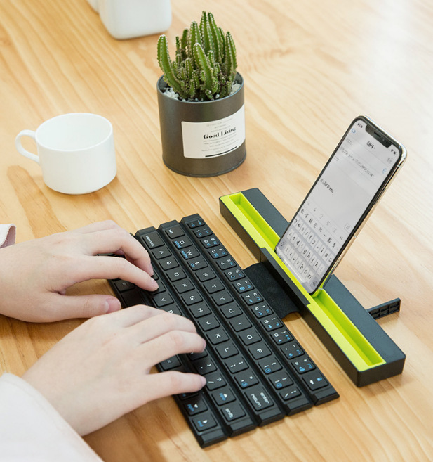 IBen Bluetooth Keyboard Folding Wireless Computer Keyboard Mini 64 Keys Foldable For Phone Tablet Laptop IPad IPhone Samsung IOS