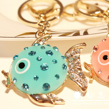 FREE SHIPPING New Arrival Cute Resin Fish Fashion Keychain Bag Car Jewelry Souvenir for Grils Female Promotion Gifts