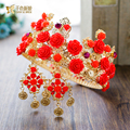 Royal Women crown Luxurious Tiara red Resin flower Baroque gold color hair ornaments bride headpiece wedding accessories huazhi