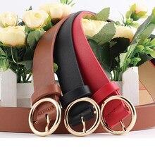 347a31e5b29d6 Seabigtoo Harajuku PU cuir rond métal boucle ceintures pour femmes jeans  pantalons décontracté taille ceintures femme