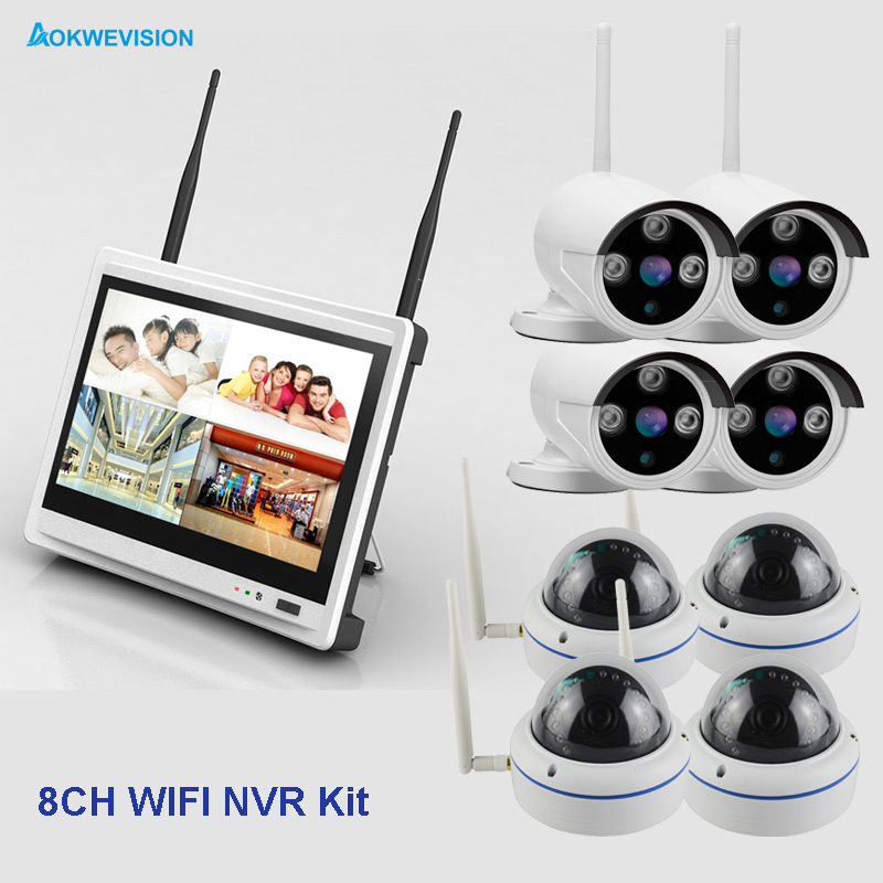 New arrival 8ch 2MP indoor and outdoor DIY IR 1080 IP Real p2p WiFi wireless cctv camera surveillance system with LCD screen