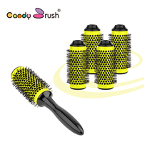цены Aluminum Round Brush Barber Hair Dressing Salon Styling Hair Brush Comb Barber Hair Brush Diameter 45mm