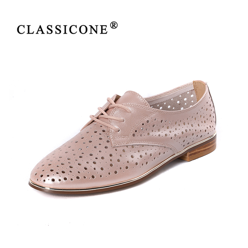 women shoes spring autumn summer woman scoop flats with genuine leather fashion brand style luxury lace-Up handmade CLASSICONE alluring lace spliced scoop neck women s cover up