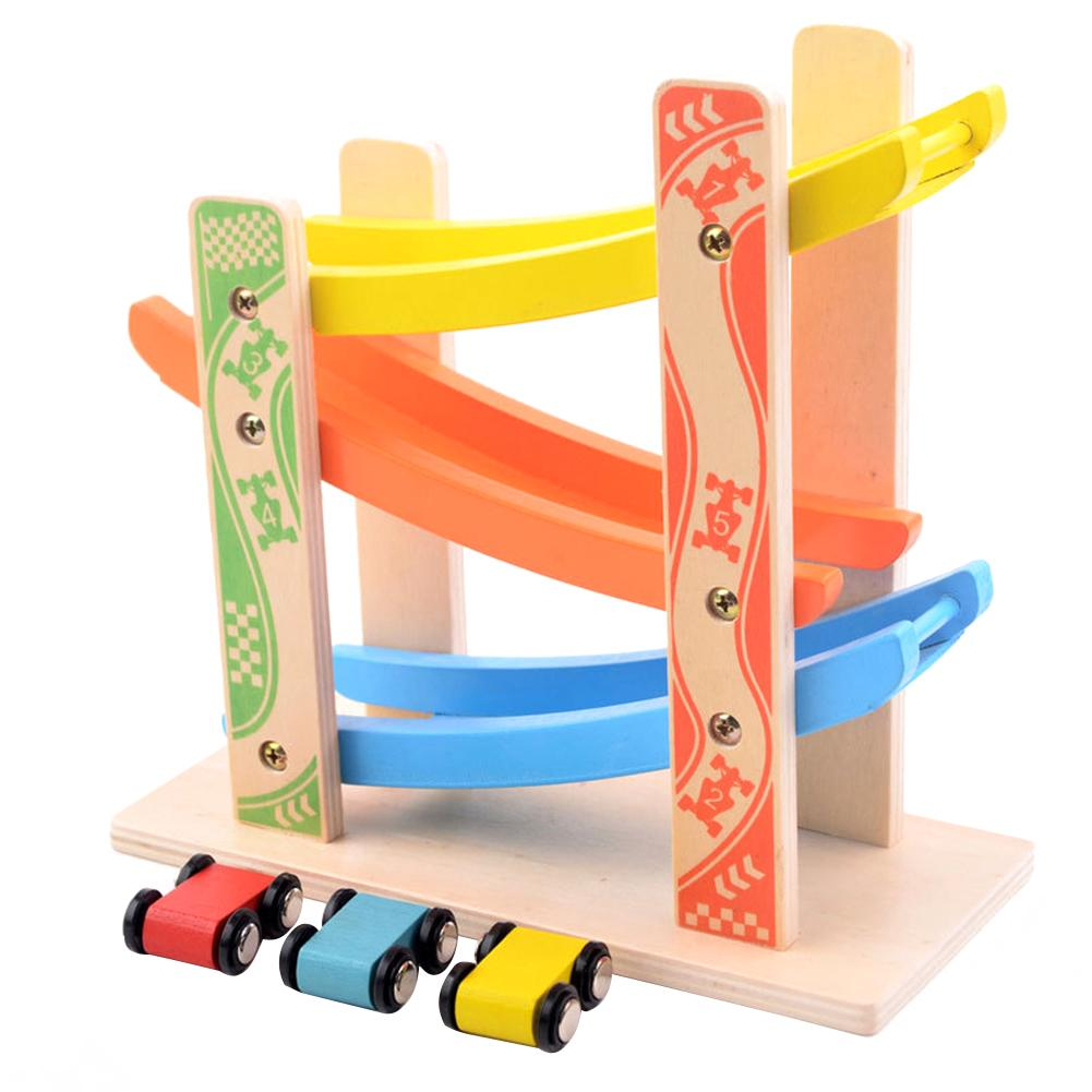 Baby Colorful Educationa Wooden Ladder Gliding Car Wooden Slot Track Car Glider Toys Educational Model To Slide Toy