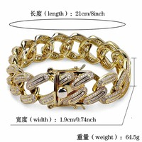 18mm Miami Curb Cuban Bracelet For Men Gold Silver Hip Hop Iced Out Paved Rhinestone CZ Rapper Bracelets Jewelry Drop Shipping