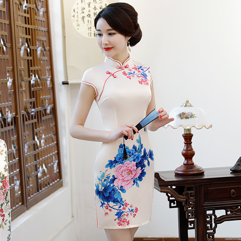 New Arrival Women's Satin Mini Cheongsam Fashion Chinese Style Dress Elegant Slim Qipao Clothing Size S M L XL XXL 368483 8