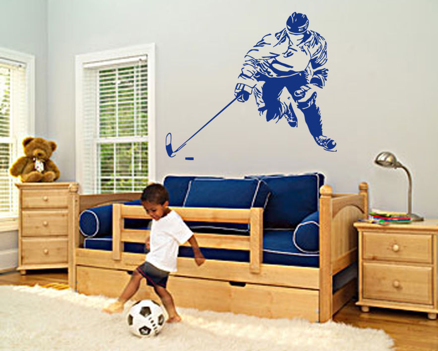 Wall Decal Sticker hockey stick puck rink sport team game kids bedroom wall stickers home decor 22'X35'