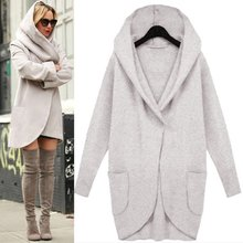 Women Winter Solid Medium Long Wool Blend Loose Pocket Single Breasted Warm Coat Outwear With Cap