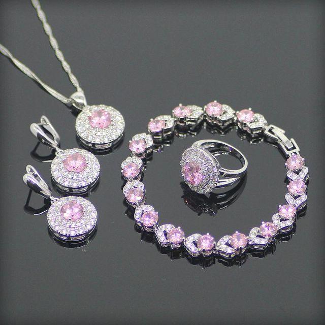 Rodada Branco Rosa Criado Topázio Esterlina 925 Conjuntos de Jóias de Prata Para As Mulheres Brincos/Pingente/Colar/Anéis/pulseira Caixa de Presente Livre
