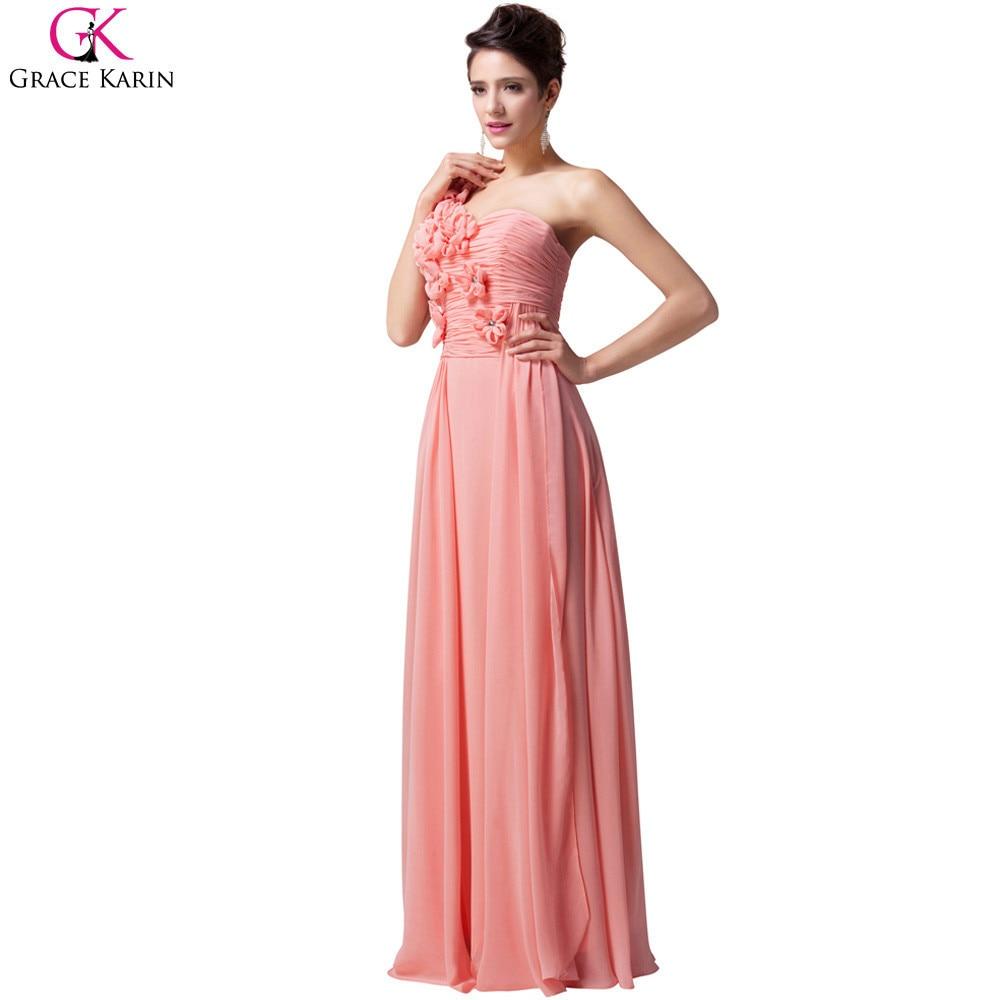Grace karin un hombro vestidos de noche 2017 blanco rosa turquesa ...