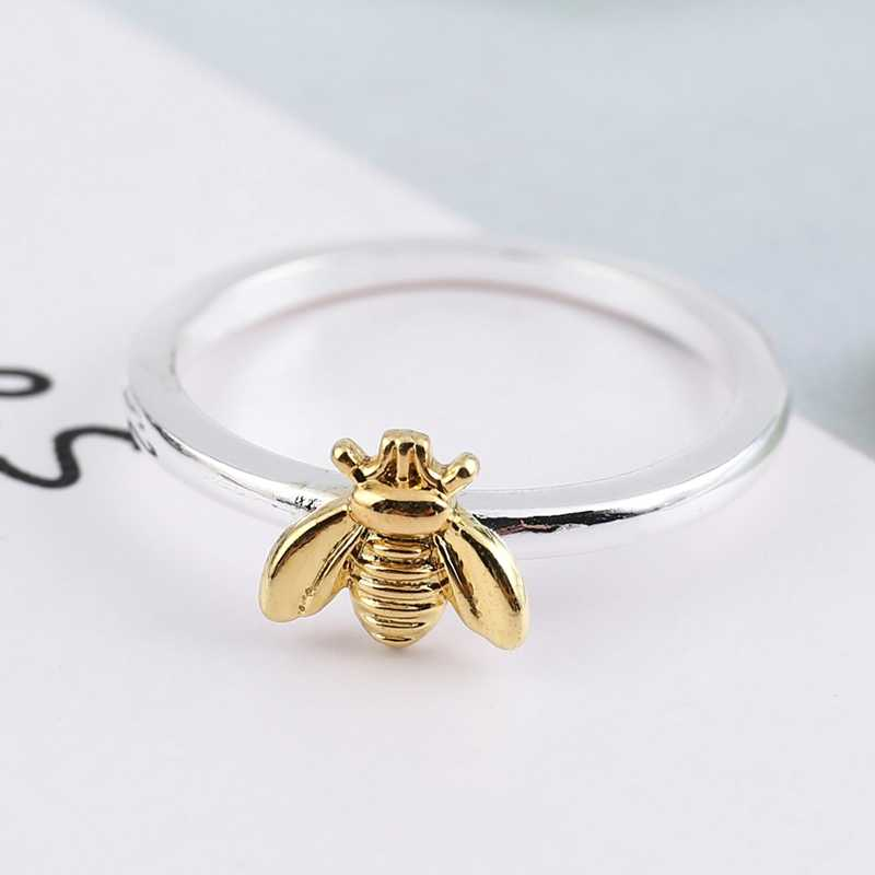 1 stks Simple Tiny Solid Gold Kleur Koper Bee Ringen Goud Gehamerd Band Stapelen Ringen Trouwdag Sieraden