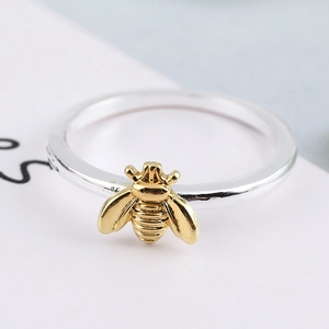 1Pcs Simple Tiny Solid Gold Color Copper Bee Finger Rings Gold Hammered Band Stacking Rings Wedding Anniversary Jewelry(China)