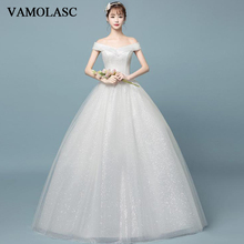 VAMOLASC Boat Neck Lace Ball Gown Wedding Dresses Sequined Off The Shoulder Short Sleeve Backless Bridal Gowns
