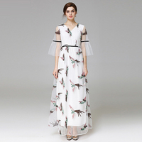 Fowice 2017 New Arrival Half Flare Sleeve Birds Embroidery Mesh Long Dress High Quality V Neck