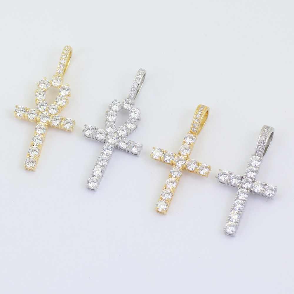 Hip Hop Anha krzyż wisiorek miedź ustawienie cz kamienie naszyjnik biżuteria dla mężczyzn i kobiet CN019