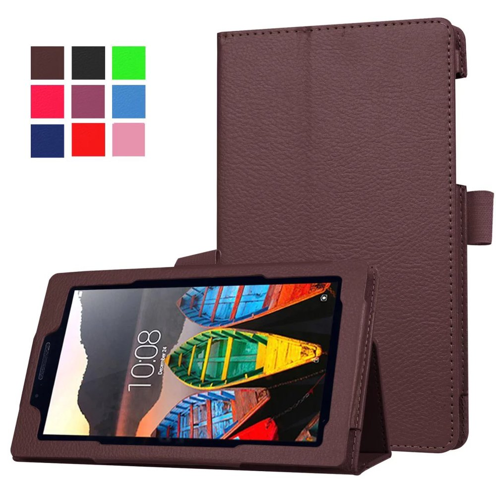 Magnet stand Lichi Pu leather case cover For Lenovo Tab 3 730 730F 730M 730X 7.0 tablet funda cases for lenovo TB3-730F TB3-730M new for lenovo tab 3 730 case slim bracket stand pu leather case for lenovo tab 3 730 730f 730m 730x tablet case not for 710