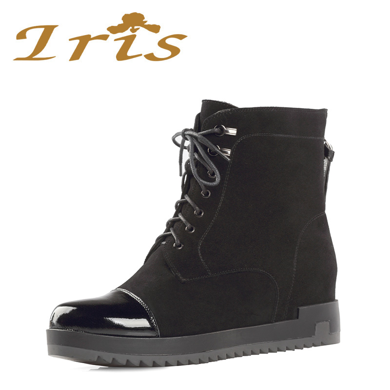 IRIS Women Boots Wedges Black Genuine Leather Fashion Shoes Woman Platform Ankle Boots Height Increasing Snow Boots 2017 New