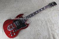 Freies verschiffen G Modell E-gitarre transparent Rot fertig mit bigsby Billige Hohe qualität SG gitarren