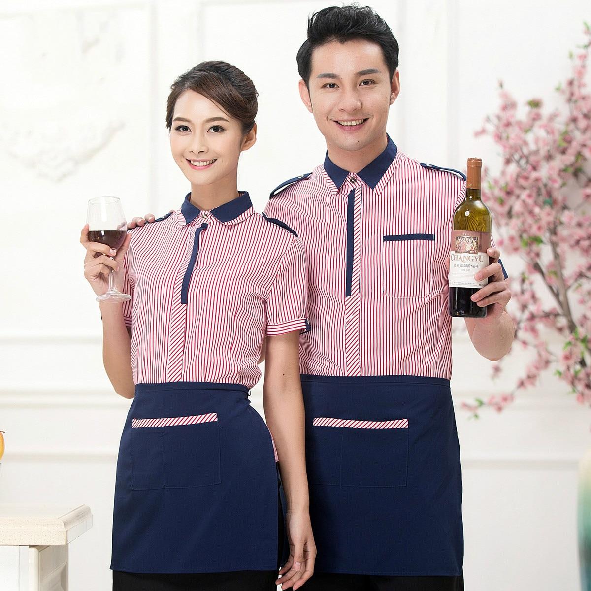 Summer Hotel Waiter Working Wear Western Restaurant Waiter Uniform Women Cafe Chef Uniform Fast Food Waitress Uniform Cook Cloth