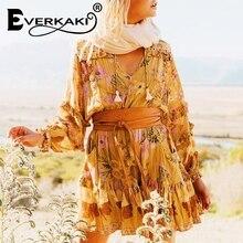Everkaki Summer draped dress women flower pattern hollow out elastic waist bow knot tassel sashes Casual loose mini boho dresses цена 2017